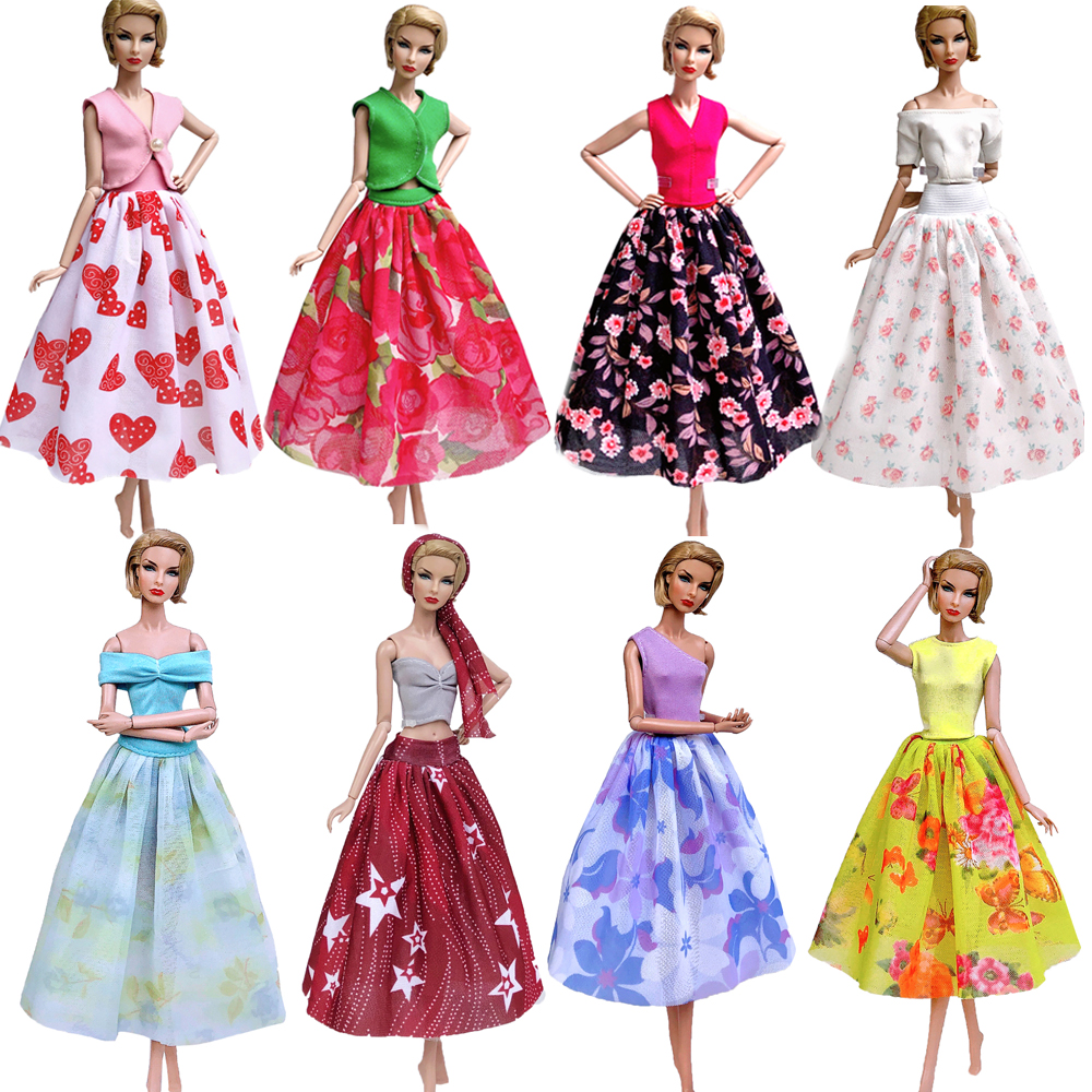 NK 2020 Newest Doll Aristocratic Variety Of Two Dresses Handmade Casual Wear For Barbie Doll Accessories Girl Gifts JJ 6X