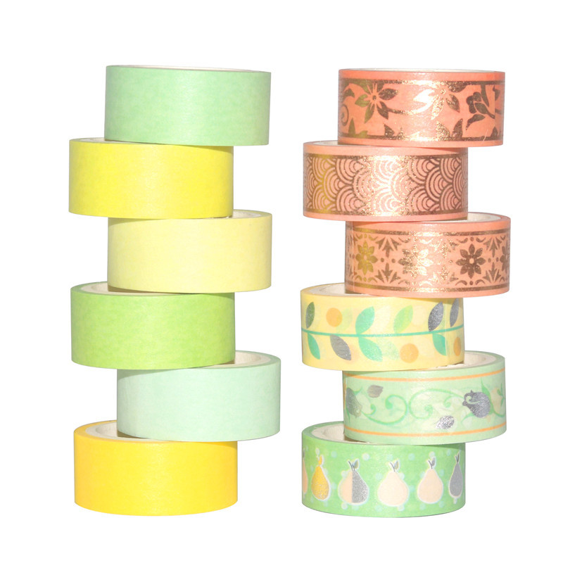 12Rolls/Set Foil Silver Washi Tape Set Paper Festival DIY Scrapbooking Adhesive Masking Tape Decorative Sticky Washi Tape Gifts