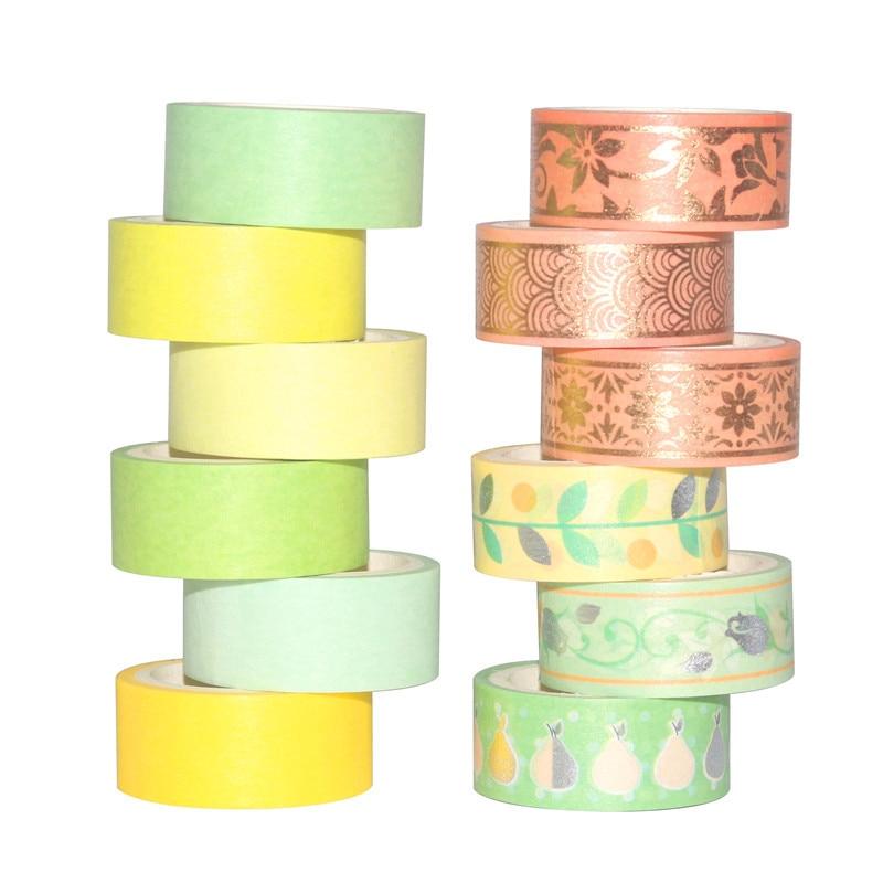 12Rolls/Set Foil Silver Washi Tape Set Paper Festival DIY Scrapbooking Adhesive Masking Tape Decorative Sticky Washi Tape Gifts