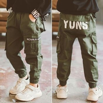 цена на INS hot boys pants 3-13 years old pocket Summer print letter cargo pants children's Fashion overalls cotton trousers boys gift