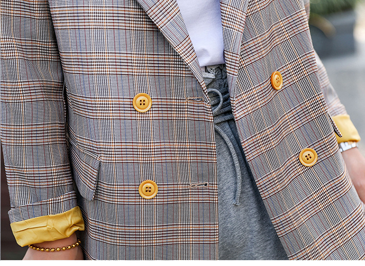 Temperament winter plaid suit female 2019 new fashion double-breasted blazer High quality women's office jacket Women's clothing