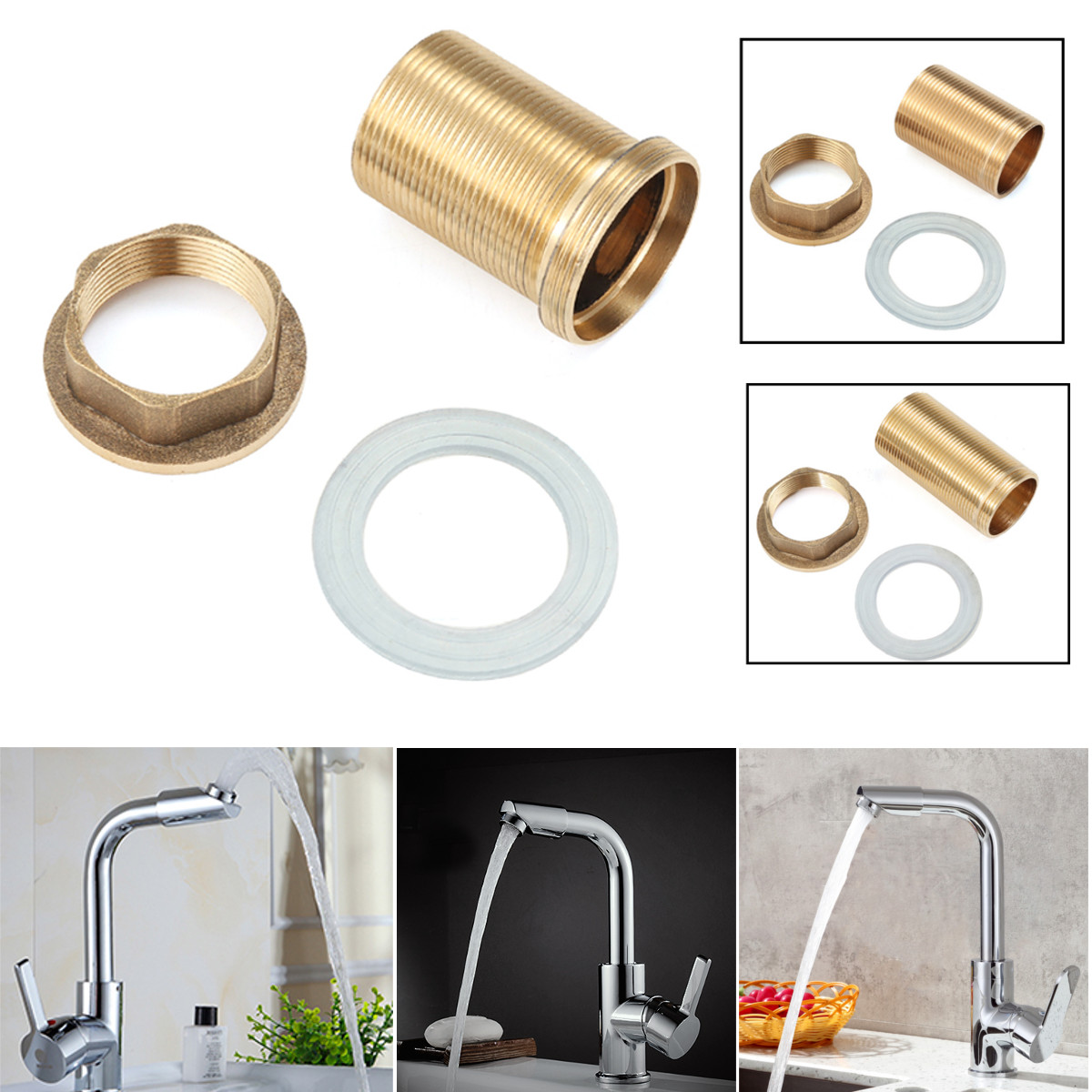Home Kitchen Basin Mixer Tap Repair Fitting Kit Faucet Threaded Brass Tube Nut Washer Parts Kitchen Faucet Accessories Copper
