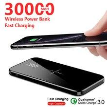 Banco de potência portátil 30000mah ultra fino qi sem fio embutido sem fio espelho de tela cheia móvel carregador rápido viagem powerbank