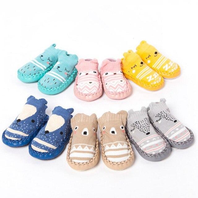 Cartoon Socks Shoes Girls Kids Baby Skin Sole Socks Infant Toddler Shoes Fur Non-slip Soft Bottom Floor Socks Crib Shoes Unisex 2