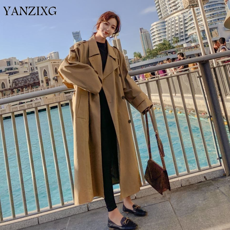Temperament   Trench   Coat For Women Double-breasted Autumn New 2019 Windbreaker Female Fashion Casual Women Clothing Z890