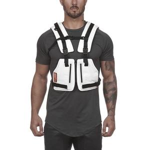 Image 2 - حقائب الصدر سترة التكتيكية للذكور سترة عاكسة مرئية للغاية 2020 جديد رجل الخصر حزمة الرجال متعددة جيب الأمن مكافحة سرقة جيب
