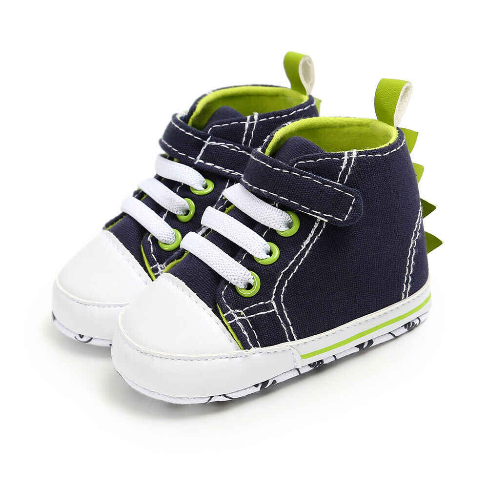 Lovely Newborn Baby Boys Girls Pre-Walker Soft Sole Pram Shoes Canvas Anti Slip Sneakers Trainers Green Gray Brown 0-18M