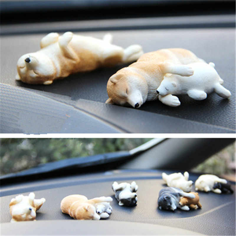 2Pcs/set high quality Cute Puppy Statue Simulation animal dog Shiba Inu Sleeping position Car Desktop Decor Action Figure Toy