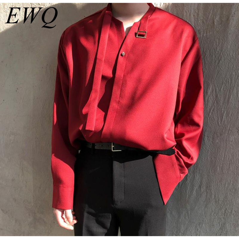 EWQ / Men's Wear 2020 Spring Summre Fashion New Design Chiffon Shirt For Male Trend Long Sleeve Tie Collar Tops Vintage 9Y872