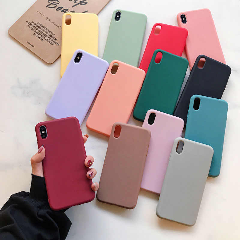 Funda de silicona suave para iPhone 11Pro max X XS funda max XR Coque para 6 6s 7 8 Plus fundas a color caramelo