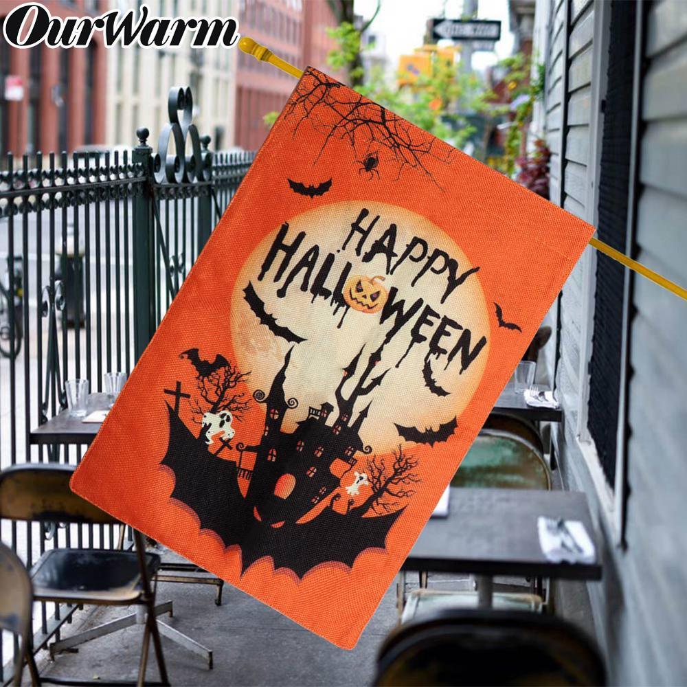 OurWarm 12 × 18 polegada Halloween Bandeira Jardim Double-Sided Serapilheira Bandeira Feliz Dia Das Bruxas Abóbora Castelo Bat Halloween Decorativos decoração