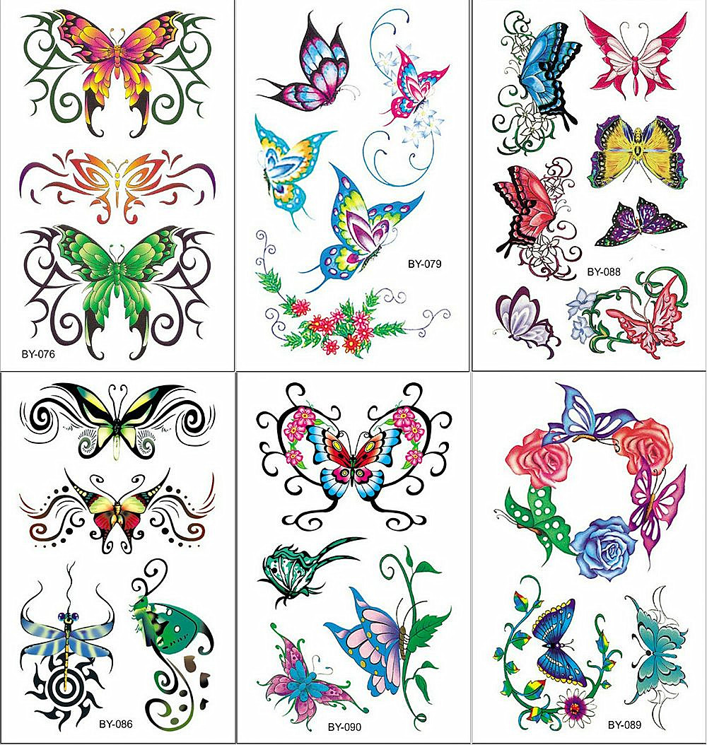 Watercolor Sex Butterfly Flower Temporary Tattoo Sticker Lace Women Body Arm Art Waterproof Tattoo Girl Kids Fake Flash Tatoos