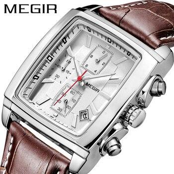цена Men Watch Top Brand Luxury MEGIR Leather Strap Rectangle Business Wrist Watch Man Relogio Masculino Military Watches Clock Hour онлайн в 2017 году