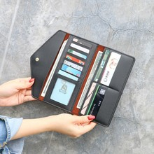 2019 New Womens Wallet Long Section Three Fold Multi-Function Buckle Multi-Card Handbag Fashion High-end