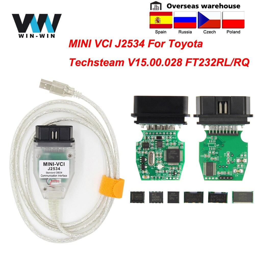 Mini vci para toyota tis techstream v15.00.028 minivci ftdi para j2534 obd obd2 diagnóstico do carro cabel MINI-VCI cabo