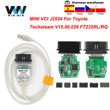 Mini vci para toyota tis techstream v15.00.028 minivci ftdi para j2534 obd obd2 diagnóstico do carro cabel MINI-VCI cabo