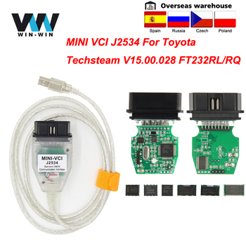 mini vci For Toyota TIS Techstream V15.00.028 minivci FTDI For J2534 Auto Scanner OBD OBD2 Car Diagnostics cable MINI-VCI Cable