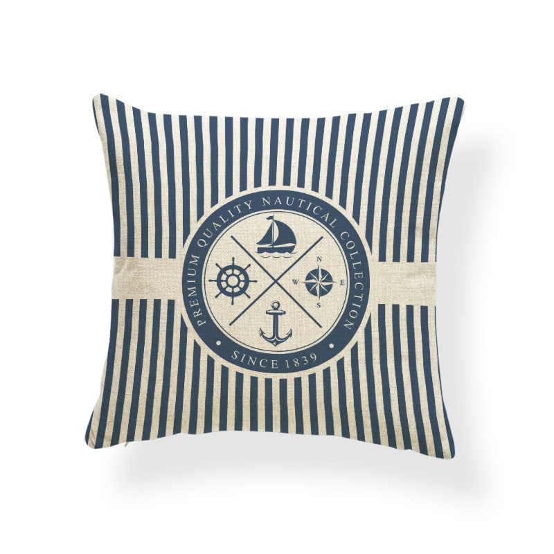 Морской синий компас наволочка с принтом якорь узор морские суда Бросок Наволочка декоративная наволочка Cojines Almofadas