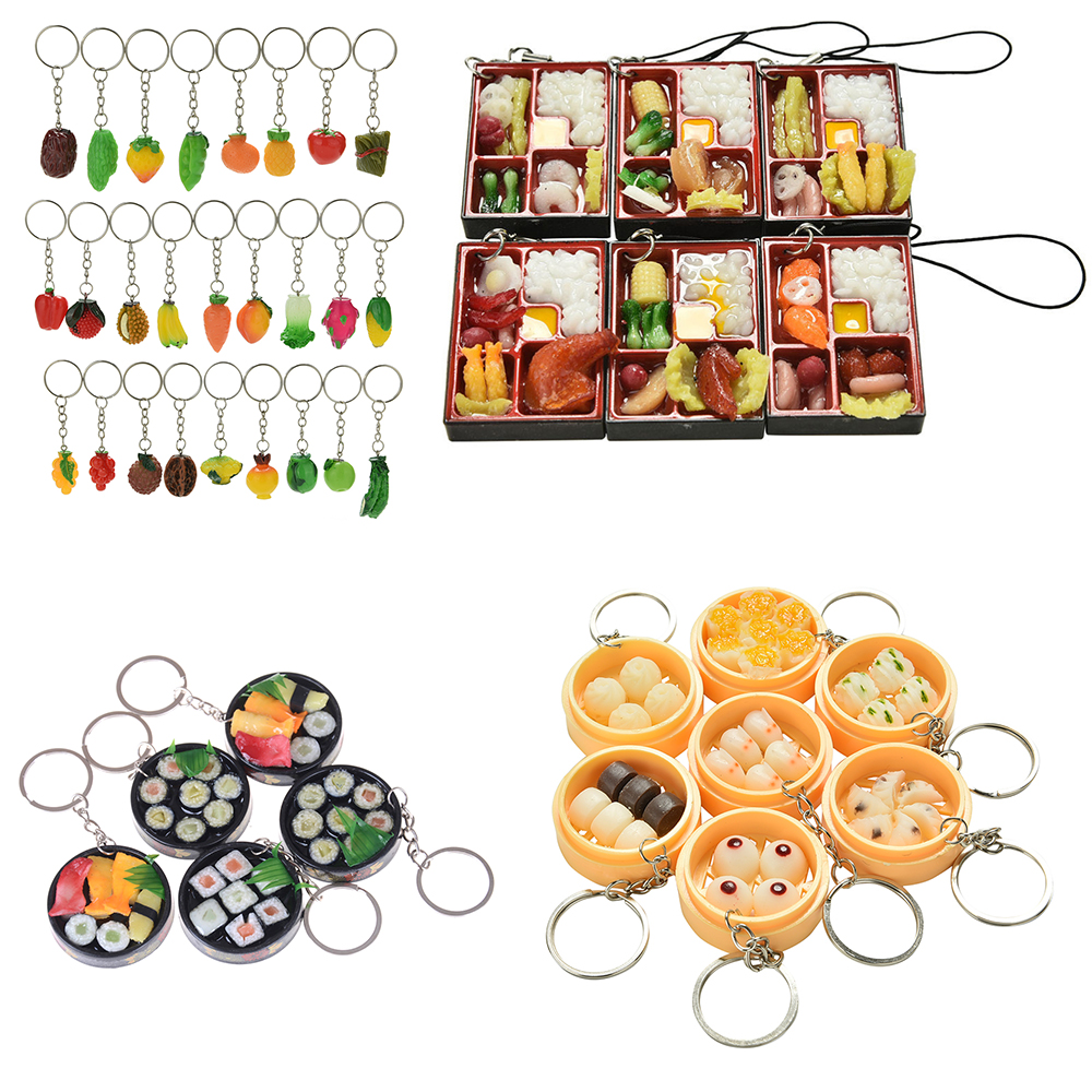 1Pc PVC Simulation Food Lanyard Toy Miniature Food Japanese Sushi Ramen Pretend Play Kitchen Set Toys For Girls Juguetes