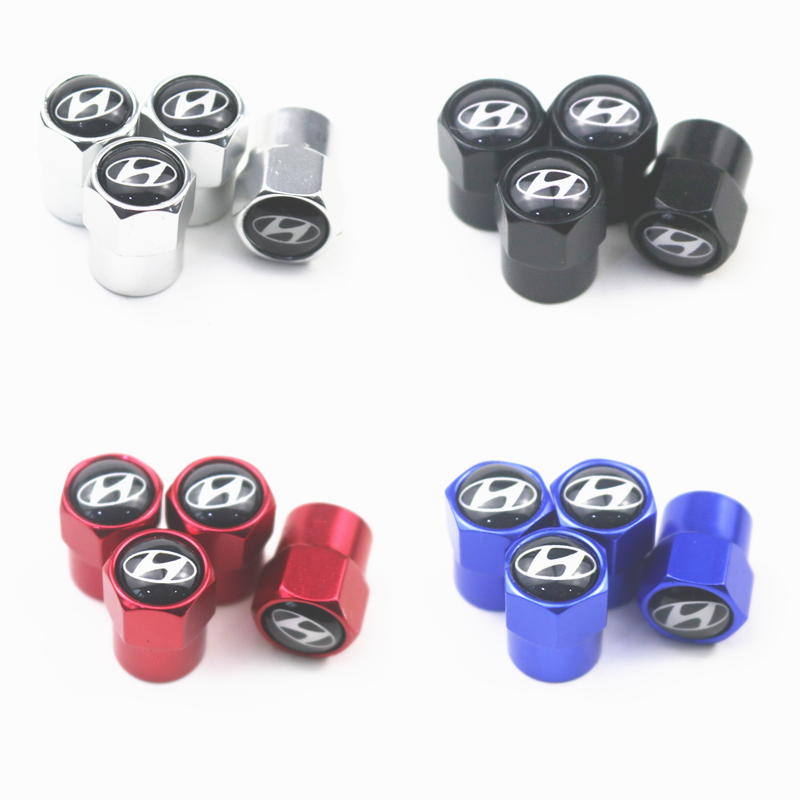 New 4PCS Auto Wheel Tire Valve Stem Caps Cover For Hyundai Tucson Solaris I30 Creta Ix35 I40 IX20 Car Accessories
