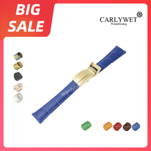 цена на CARLYWET 20mm TOP Quality Blue Green Leather VINTAGE Luxury Wrist Watch Band Strap Clasp For Rolex DAYTONA SUBMARINER OYSTER GMT