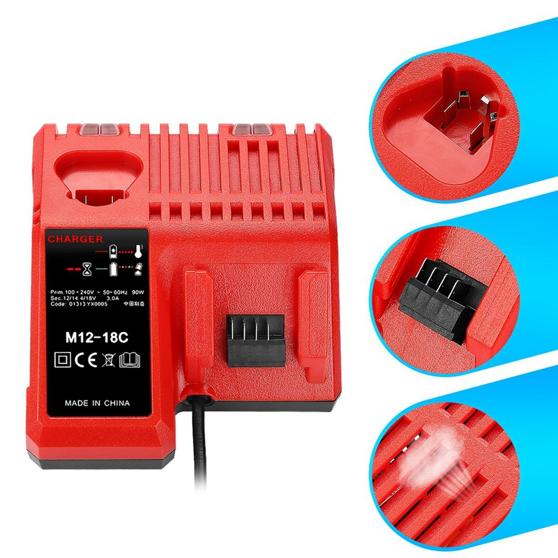 M12 & M18 Rapid Replacement Charger M12-18Fc 12V&18V Xc Lithium Ion Charger For Milwaukee Xc Battery(Eu Plug)
