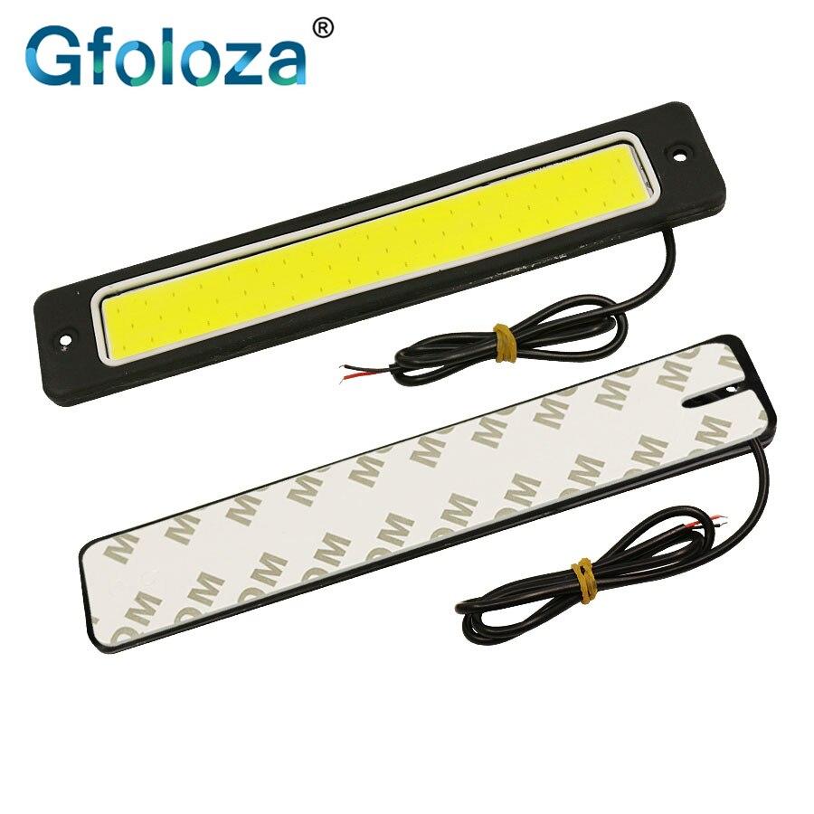 2PCS 6000K COB Fog White LED DRL Daytime Running Light Backup Interior Strip 12V