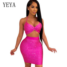 YEYA Two Piece Set Night Club V Neck Diamond Dress 2 Outfits for Women Sexy Christmas Bandage Party Plus Size S-XXL