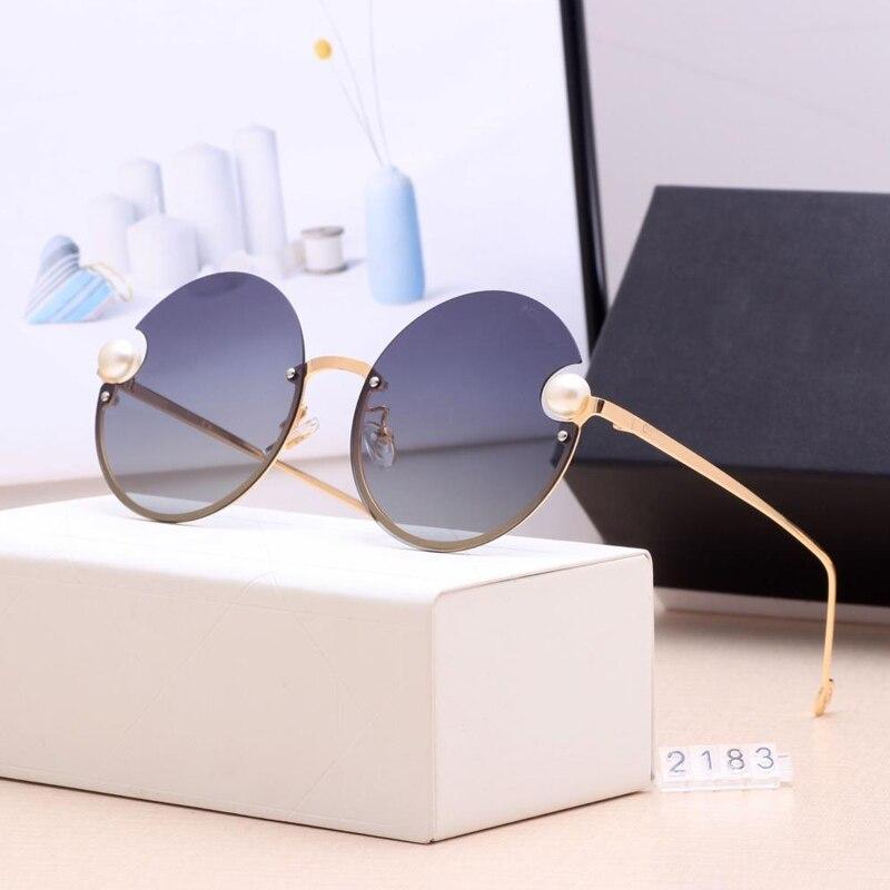 New Luxury Brand Round Women Sunglasses 2019Pearl Decoration Fashion SunGlasses Ladies Gradient Clear Shades UV400 Oculos De Sol