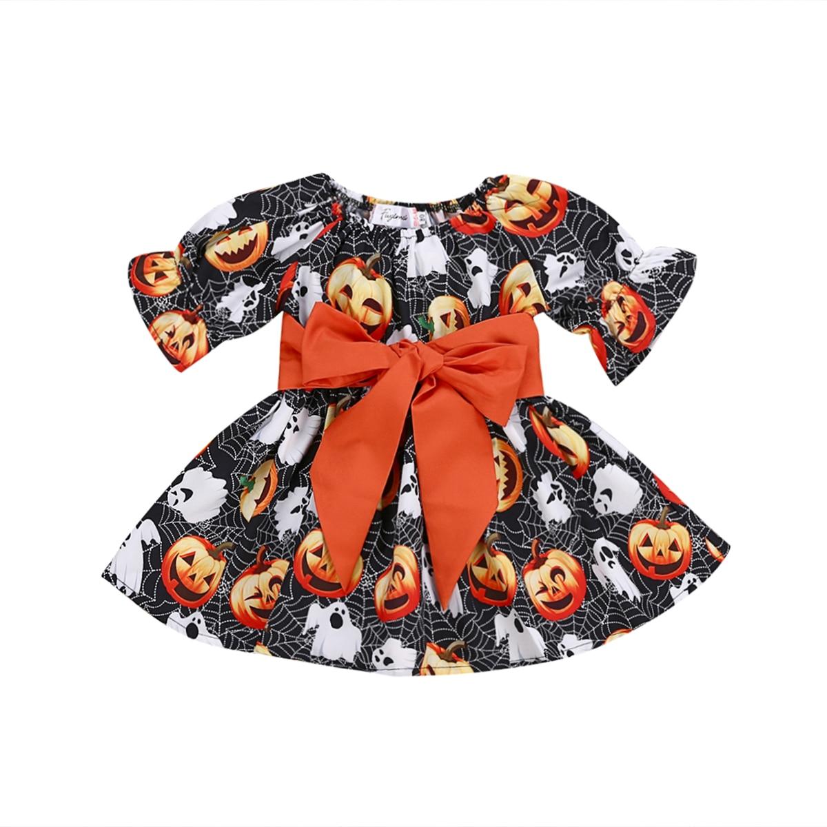 Halloween Newborn Toddler Baby Girl Boy Costume Kid Long Sleeve Bow-knot Pumpkin Printed Tutu  Dress Clothes Outfit