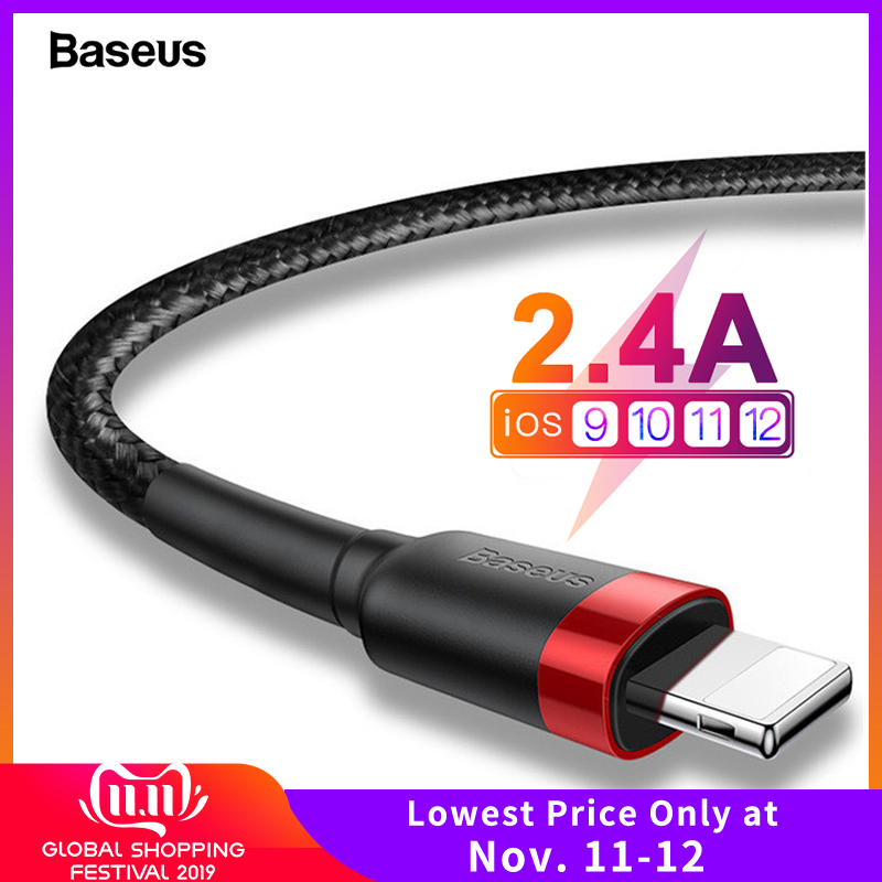Baseus USB Cable For iPhone XS Max XR X 8 7 6 6s Plus 5 5S SE iPad Pro 2.4A Fast Charging Charger Data Cord Mobile Phone Cables-in Mobile Phone Cables from Cellphones & Telecommunications on AliExpress - 11.11_Double 11_Singles' Day
