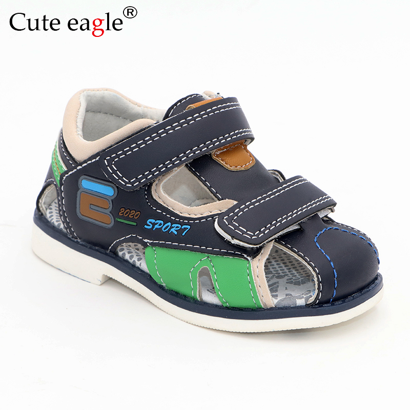 Cute Eagle Summer Boys Orthopedic Sandals Pu Leather Toddler Kids Shoes For Boys Closed Toe Baby Flat Shoes Size 22-27 No.A192