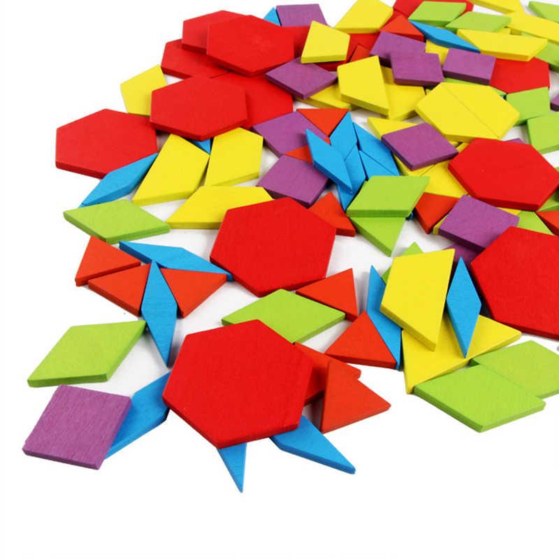Heißer Verkauf 155 stücke Holz Puzzle Bord Set Bunte Baby Montessori Pädagogisches Spielzeug für Kinder Lernen Entwicklung Spielzeug
