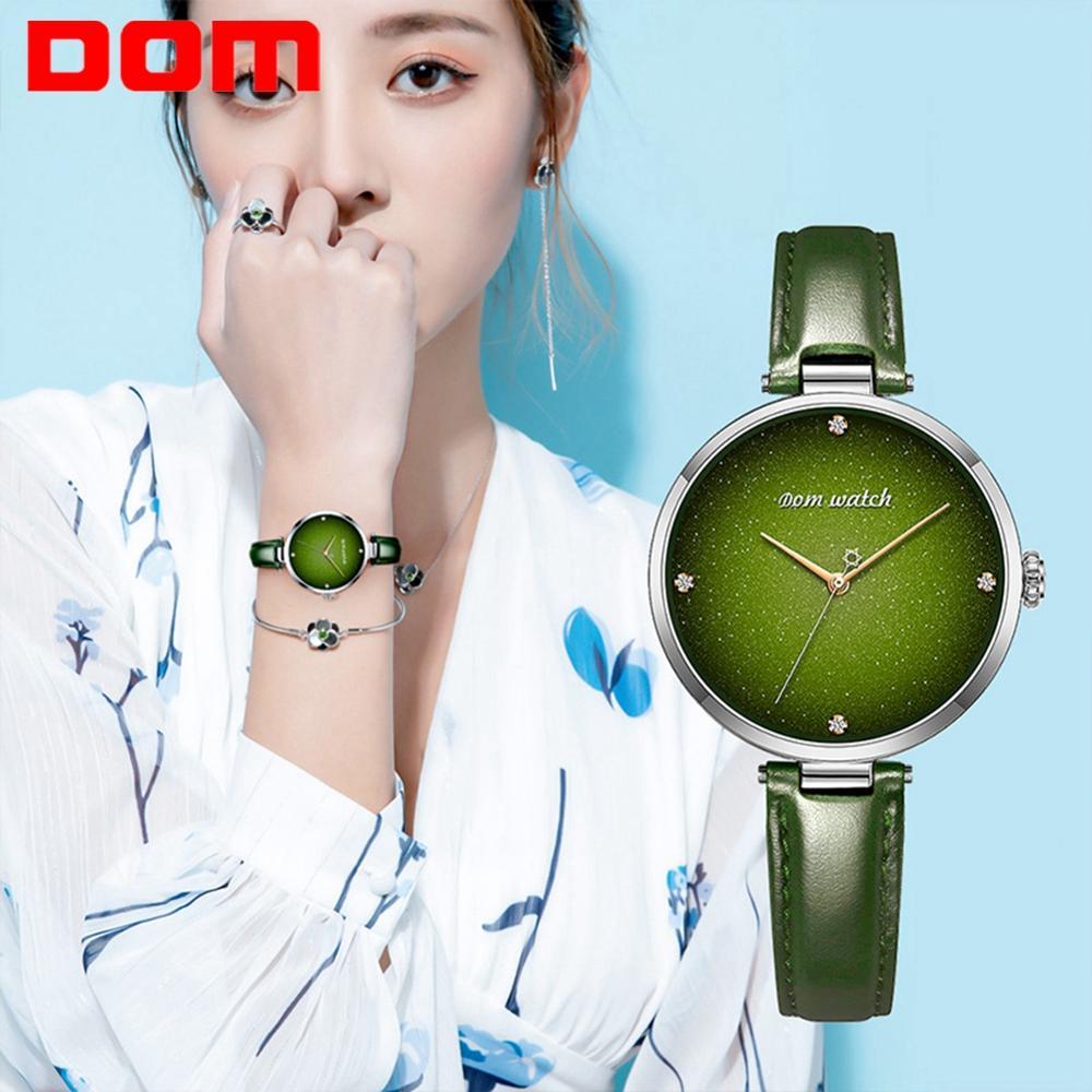 DOM Top Luxus Mode Weibliche Quarz Armbanduhr Elegante Grüne Frauen Uhren Leder Wasserdichte Uhr Mädchen Muster Uhr G 1292|Damenuhren|   - AliExpress