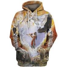 Старинные знаменитости стиль мужчины кофты 3D Индийский балахон плюс размер весна осень пуловер свободные животных печати пальто для мальчиков