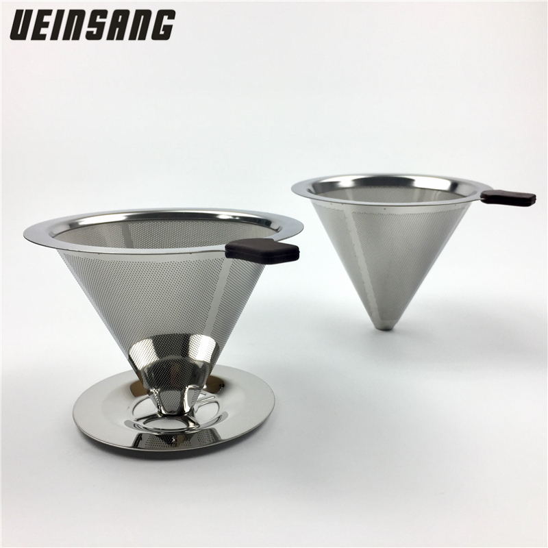 Reusable Coffee Filter Stainless Steel Holder Metal Mesh Funnel Baskets Drif Coffee Filters Dripper v60 Drip Coffee Filter Cup(China)