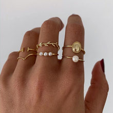Bohemian 6pcs/sets Knuckle Women Rings Set Pearl Leaf Geometric Gold Color Finger Knuckle Ring Ladies Beach Party