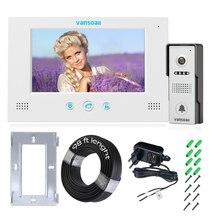 """VANSOALL видеодомофон """" TFT lcd проводной видео телефон двери Открытый ИК камера система Поддержка разблокировки с кабелем 30 м"""