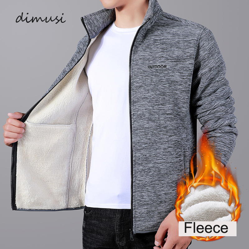 DIMUSI Winter Men's Jackets Casual Male Outwear Thick Velvet Windbreaker Fleece Jackets Mens Slim Fit Stand Collar Warm Jackets