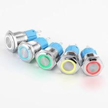 Bouton-poussoir circulaire plat en métal, étanche conforme à la norme ip65, bouton d'alimentation LED, 16/19/22mm, 3/6/12/24v, 110/220v