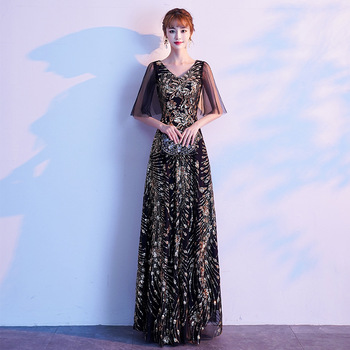 Fashion V-neck Evening Dresses Robe De Soiree Half Sleeve Formal Dress Sequins Appliques Floor Length Party Prom Evening Gown