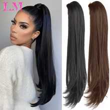 Ponytail Long Claw-Clip Wavy Straight Synthetic for Women LM