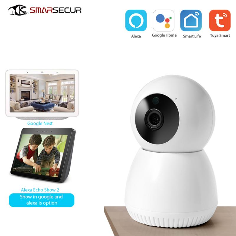 1080P Wireless Smart IP Camera WiFi Home Surveillance Security IR Camera Night Vision Monitor Compatible With Alexa Google Home
