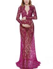 цена Fashion Maternity Photography Props Maxi Maternity Gown Lace Maternity Dress Fancy Shooting Photo Summer Pregnant Dress Plus онлайн в 2017 году