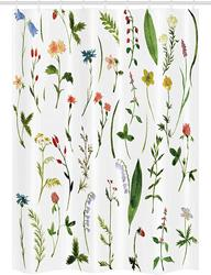 Kwiat akwarelowy stoisko zasłona prysznicowa różne rodzaje kwiatów z ziołami chwasty rośliny i elementy ziemi tkanina łazienka w Zasłony prysznicowe od Dom i ogród na