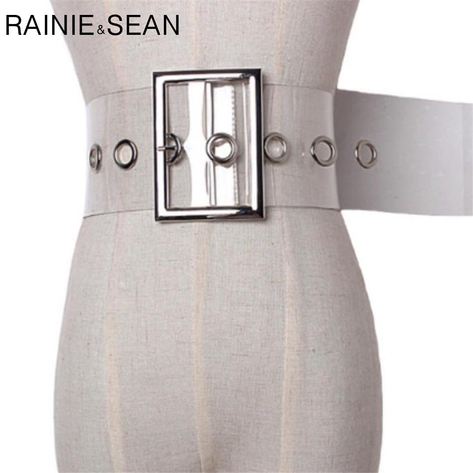 RAINIE SEAN Wide Ladies Belt Pin Buckle Belt for Women Cummerbund PVC Transparent Female 2021 Fashion Brand New Belt Clear