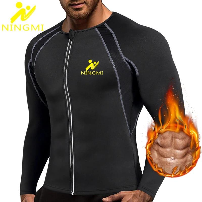 Men/'s Neoprene Sweat Suit Sauna Slim Vests Long Sleeves Gym Slimming Body Shaper