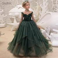 Green Special Occasion Flower Girl Dresses Cute Tulle Formal Long Lace Pageant Gowns For Girls Floor Length XF029