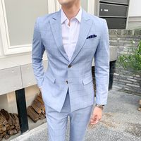 Men Plaid Suit Blue Khaki Suit Trousers Skinny Design British Work Men's Clothing Wedding Prom Casual Suit Jacket with Pants 5XL