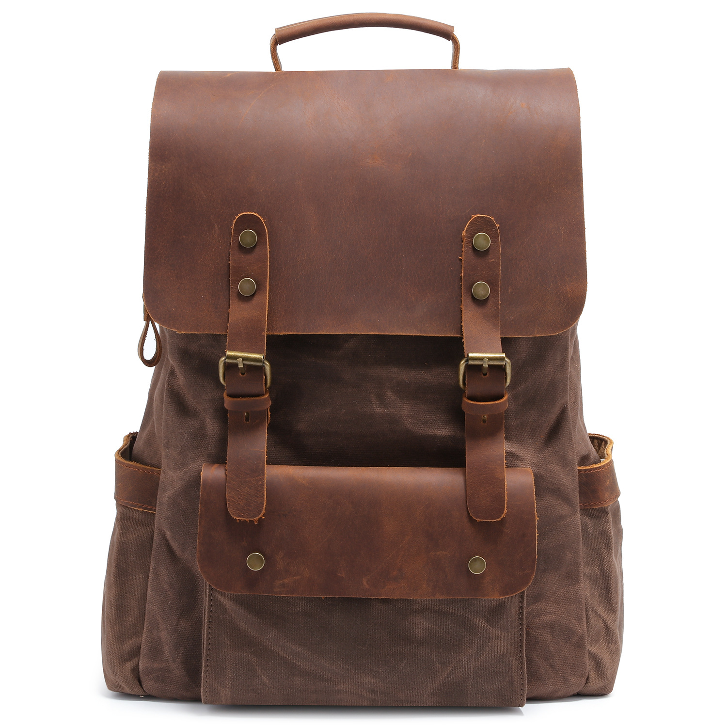 Cross Border Hot Selling College Style School Bag Casual Travel Men's Bag Retro Horse Leather with Canvas Backpack Customizable